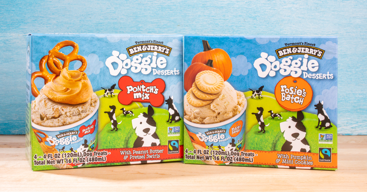 Doggie Desserts will be sold individually or in 4-count multipacks. The multipacks have a suggested retail price of $4.99 and are available in two flavors: Pontch's Mix and Rosie's Batch.