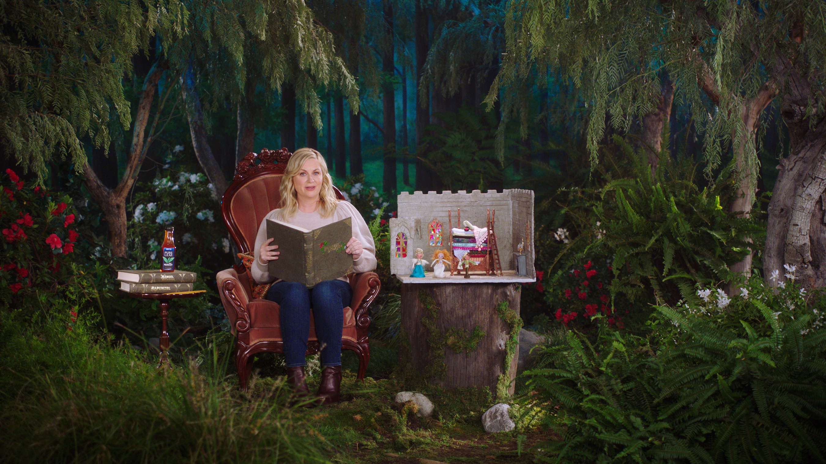 "Actor and producer Amy Poehler on set with Pure Leaf iced tea reimagining classic fairy tales in celebration of the brand's ""No Is Beautiful"" campaign."