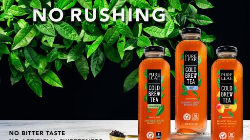 "New Pure Leaf Cold Brew Iced Tea takes a ""no-rush"" approach. Tea Masters brew tea leaves for 3x longer and at a lower temperature resulting in a refreshing and smoother tasting iced tea."