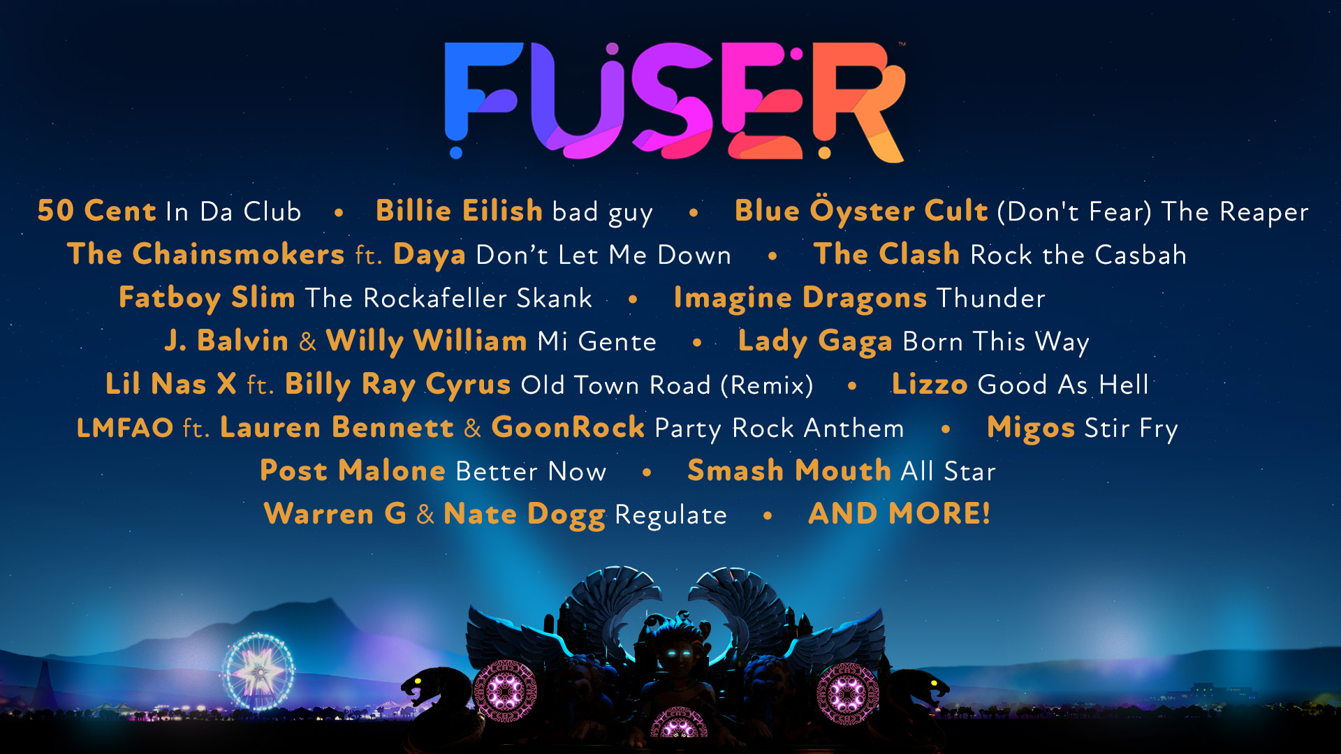 Revealed today are the first 16 licensed songs from the 100+ songs on the Fuser soundtrack, representing a wide range of genres and generations of music, with more reveals to come!