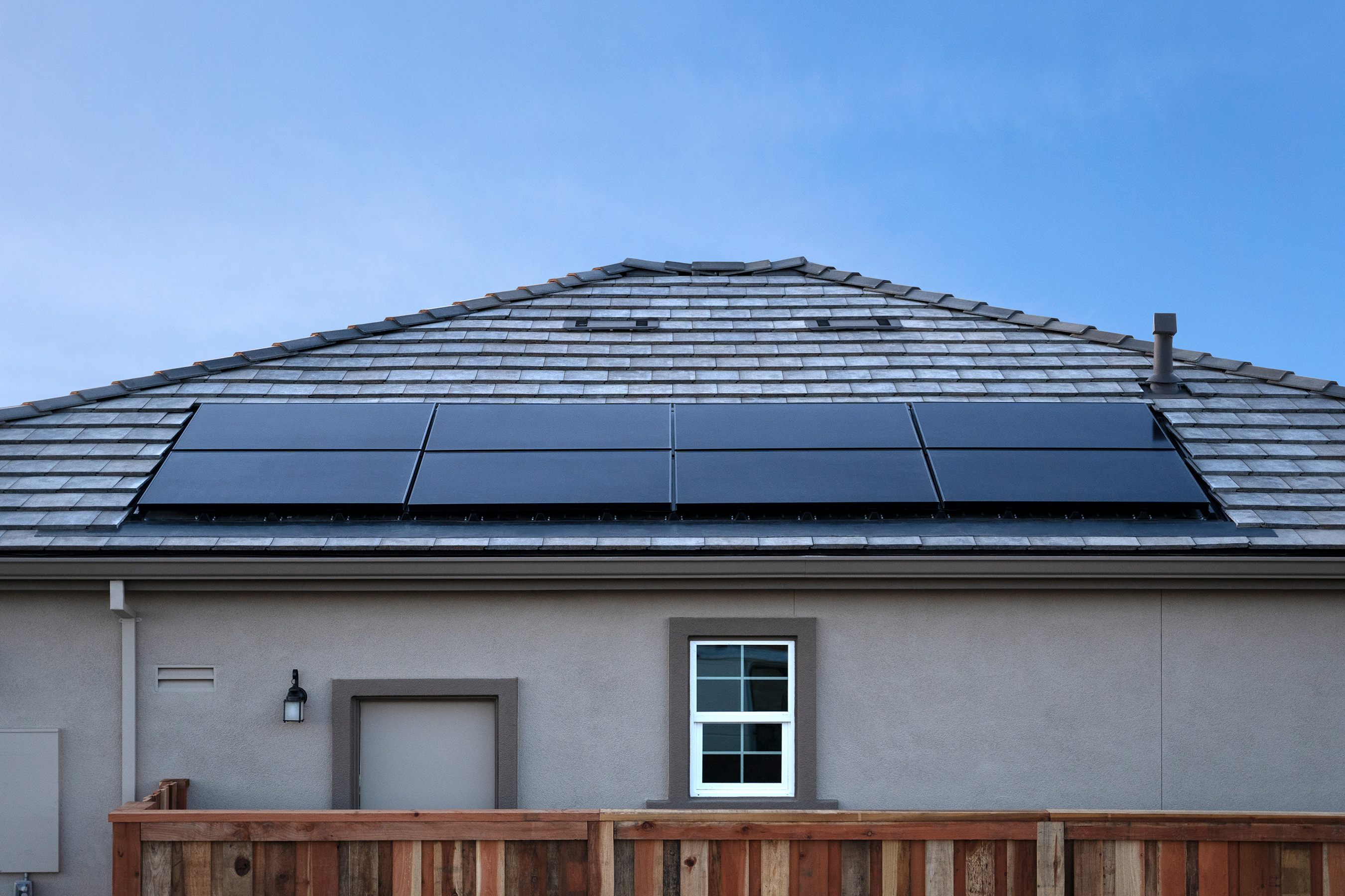 Our OneRoof™ system fits seamlessly with the rest of the roof for a sleek, low-profile look with virtually no visible parts. Except for those money-saving solar panels.
