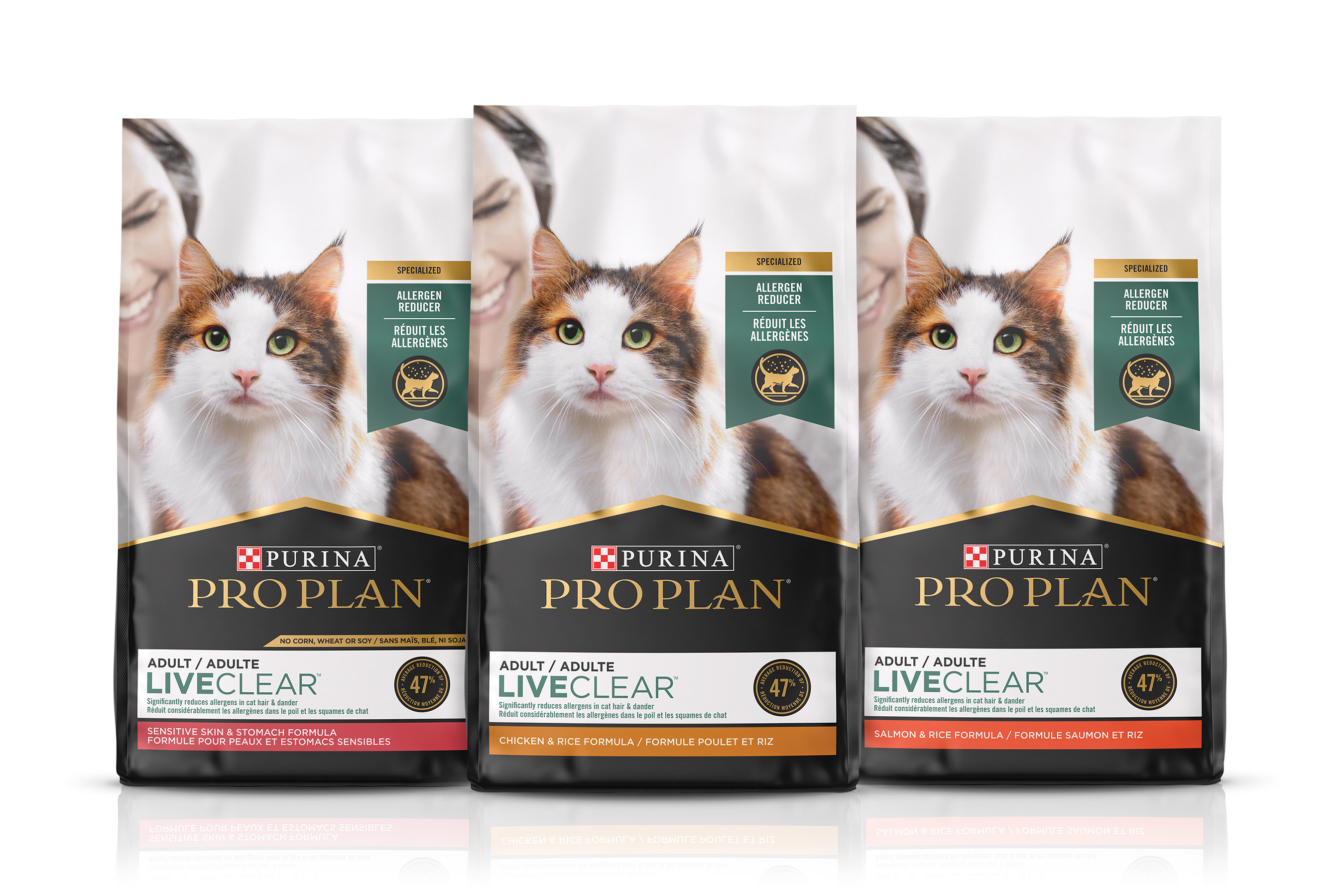 Pro Plan LiveClear, the first and only cat food that reduces the allergens in cat hair and dander, is a revolutionary approach in the management of cat allergens and is now available for purchase