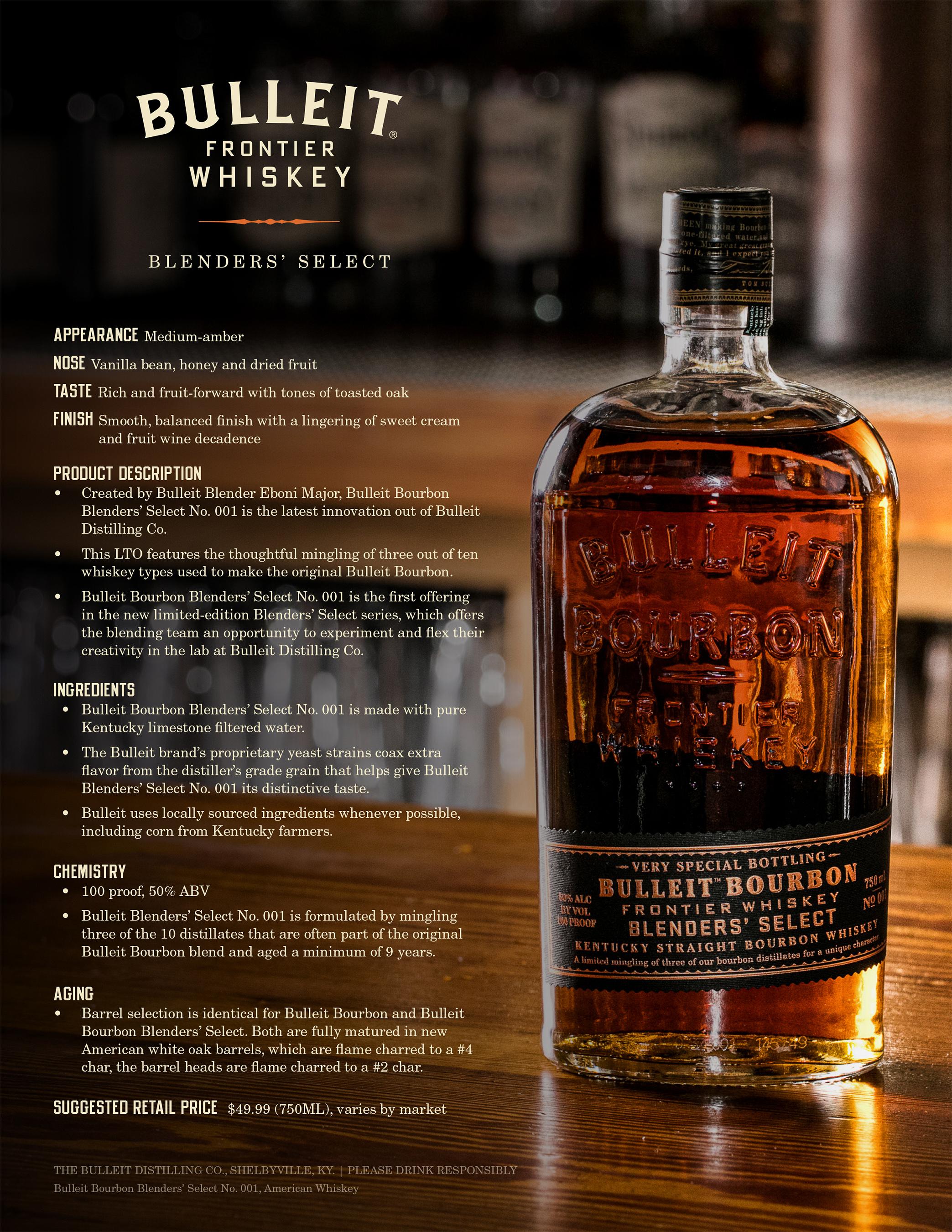 Bulleit Bourbon Blenders' Select No. 001 – Fact Sheet