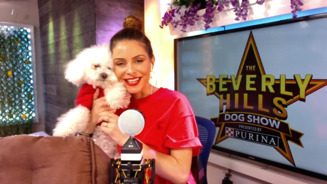 Maria Menounos is teaming up with Purina & NBC for this year's Beverly Hills Dog Show and encouraging pet lovers to cuddle up on the couch and tune-in for an evening of family-friendly entertainment on Sunday, May 17.