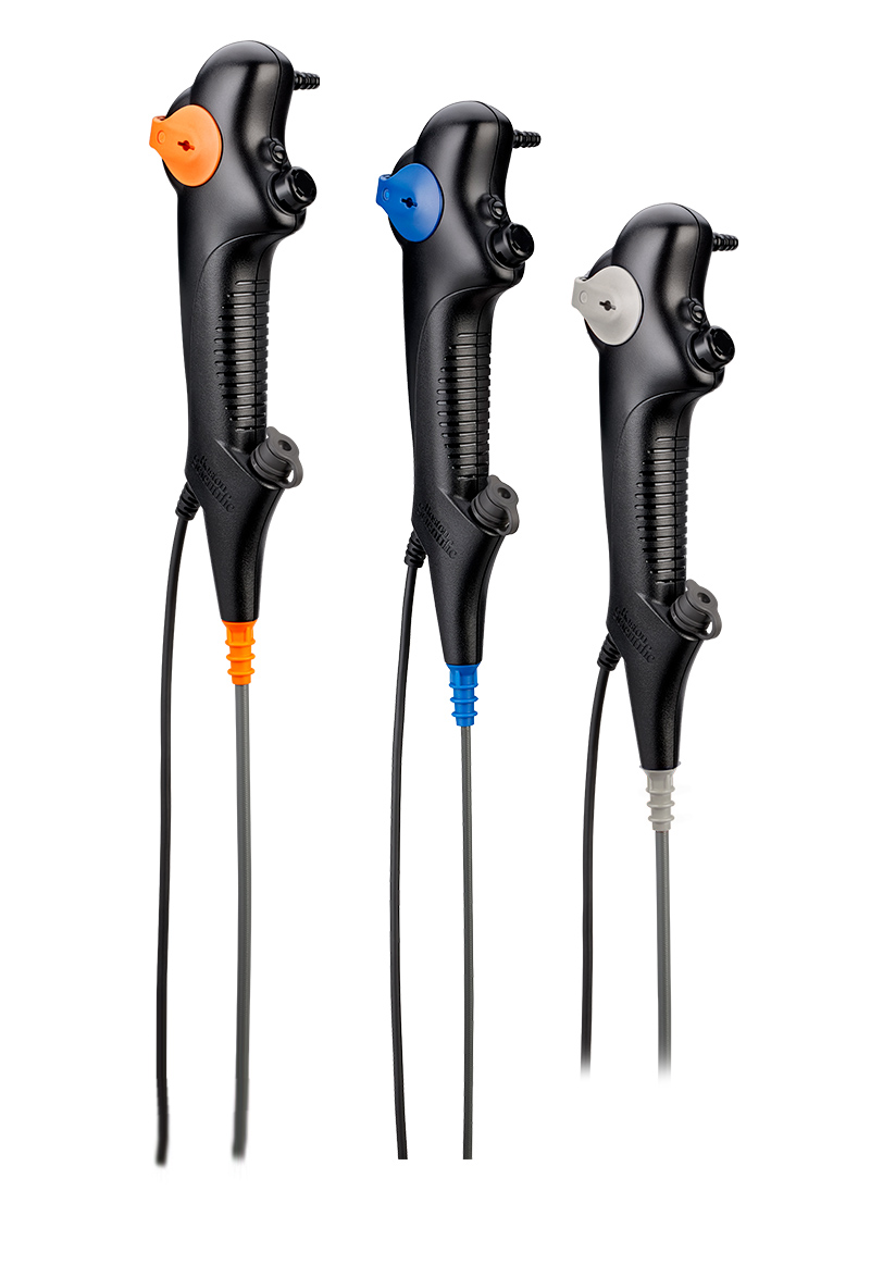 The EXALT(tm) Model B Single-Use Bronchoscope is offered in three sizes - large, regular and slim.