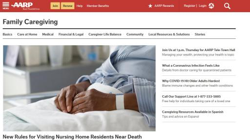 AARP website screenshot