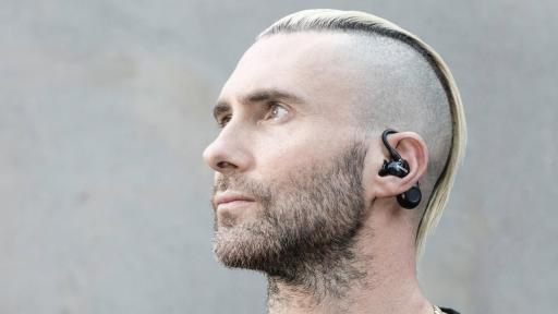 Adam Levine wearing Shure AONIC 215 True Wireless Sound Isolating Earphones