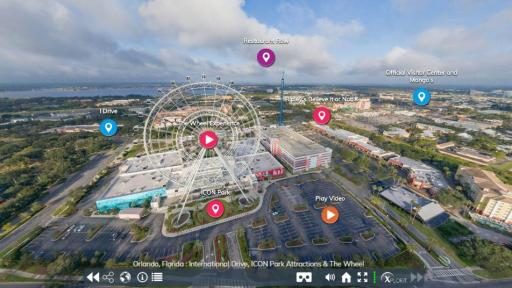 The Orlando Virtual Tour includes 360-degree views of some of the destination's most iconic attractions, like the Wheel at ICON Park, pictured here within the virtual experience.