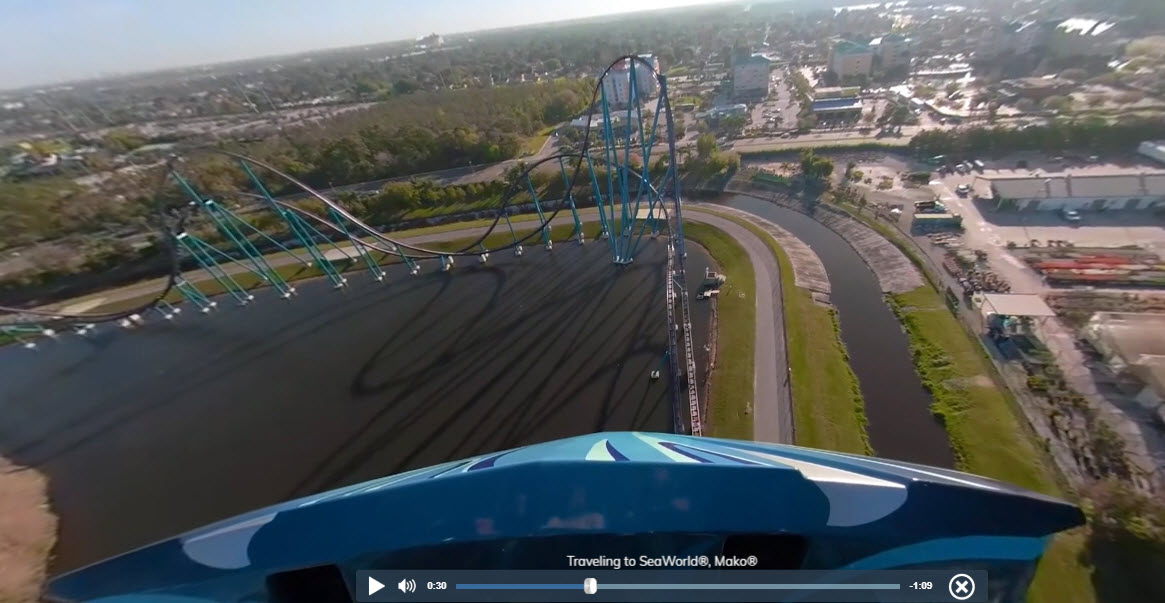 Virtual visitors can now soar down a 200-ft. roller coaster drop aboard Mako at SeaWorld Orlando, pictured here, just one of many virtual thrills available.