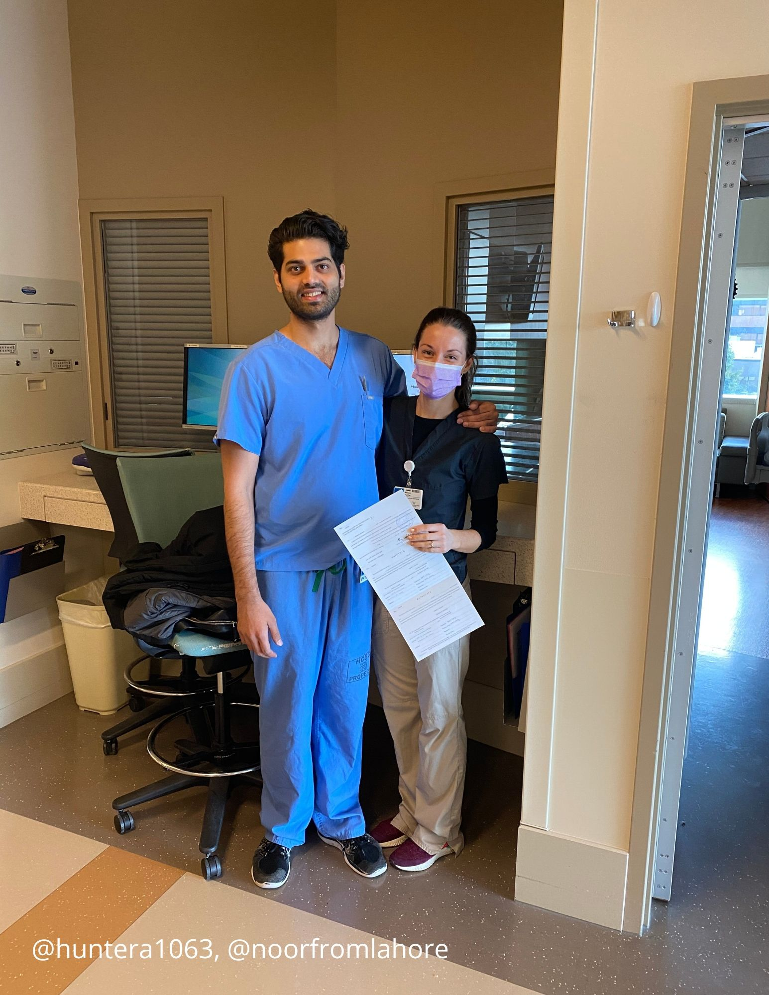 "Allison, ICU occupational therapist & Noor, pulmonary critical care doctor in PA | ""Their wedding was scheduled for 4/17 --instead, they had hospital coworkers sign their marriage license."""