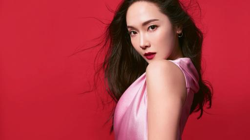 Jessica Jung against a red background