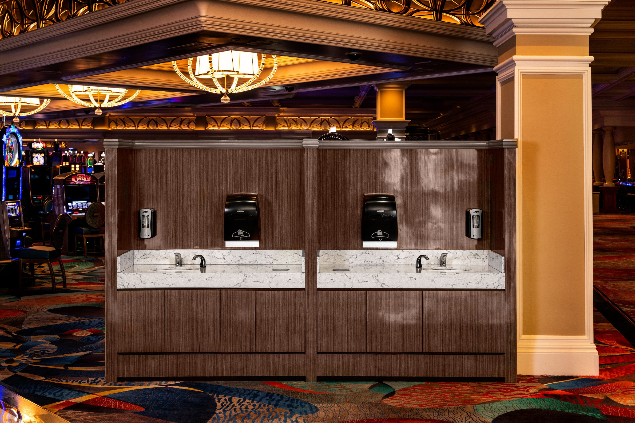 Early version of handwashing stations being custom built and installed throughout casino floors in all MGM Resorts properties in the U.S.