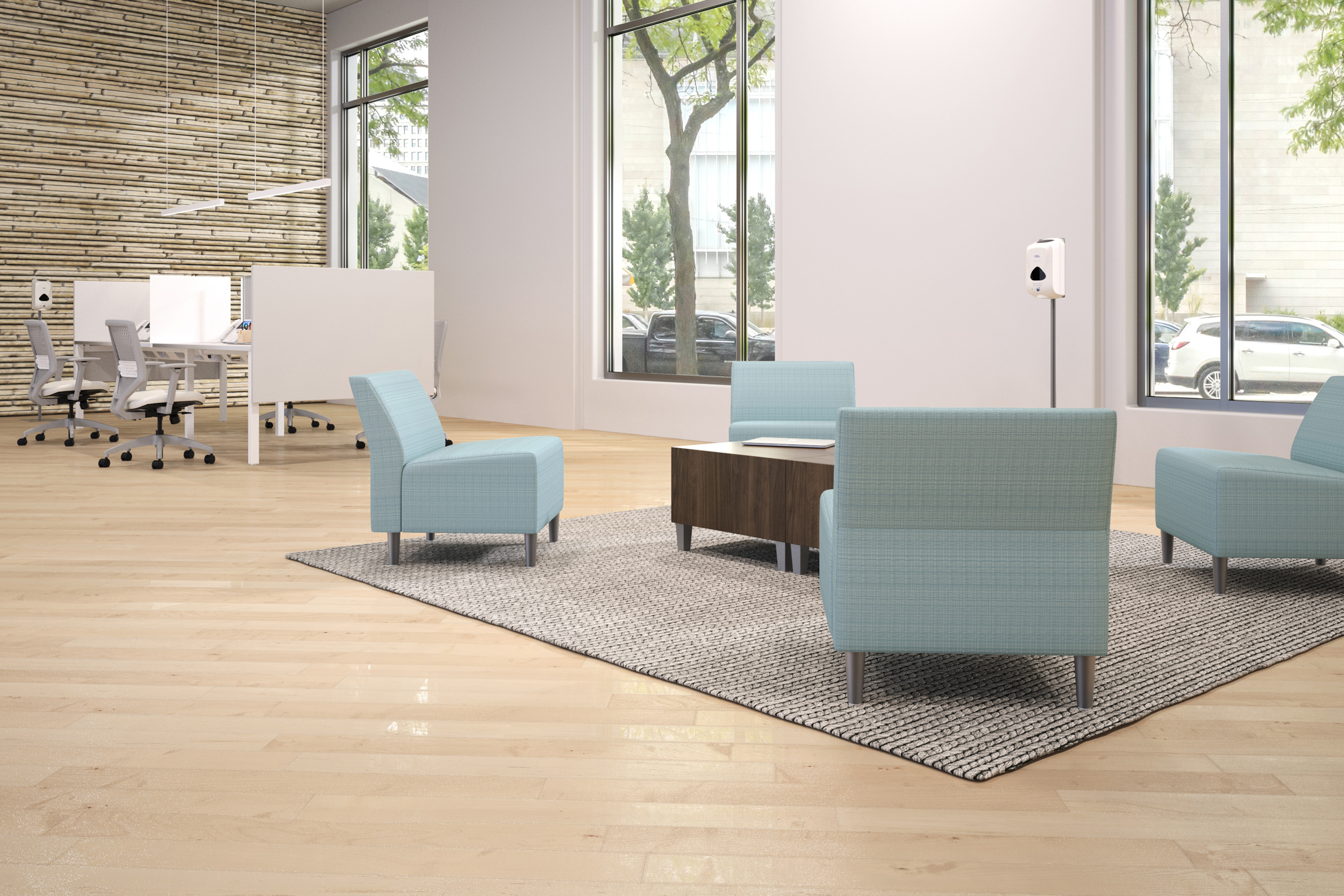 """HON's soft seating can be upholstered in cleanable fabrics and is easily reconfigured, allowing teams to feel """"together"""" while practicing safe social distancing."""