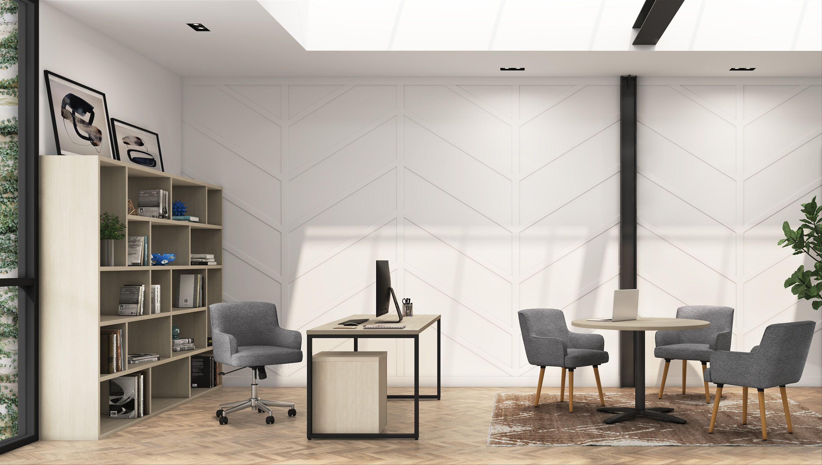 If you have the space for a designated home office space, explore the option of a traditional or modern office solution designed to ergonomically support you and the aesthetic of your home.