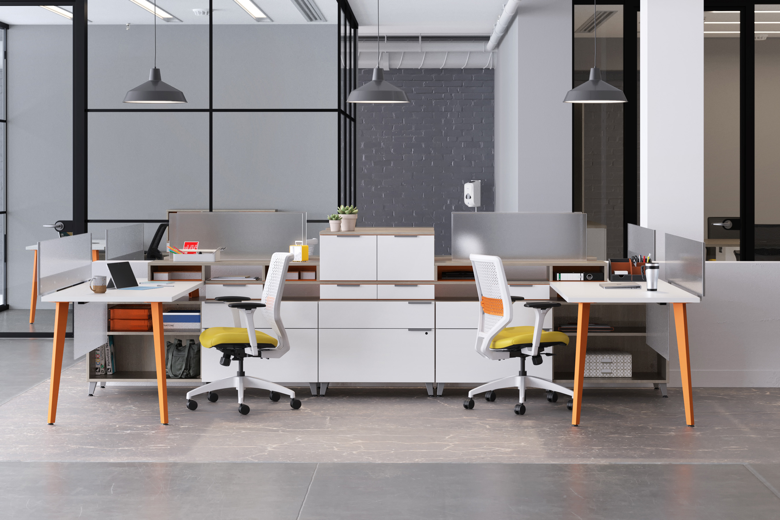 Mobile and freestanding screens provide a sense of safety and privacy to all workers, yet don't inhibit collaboration.