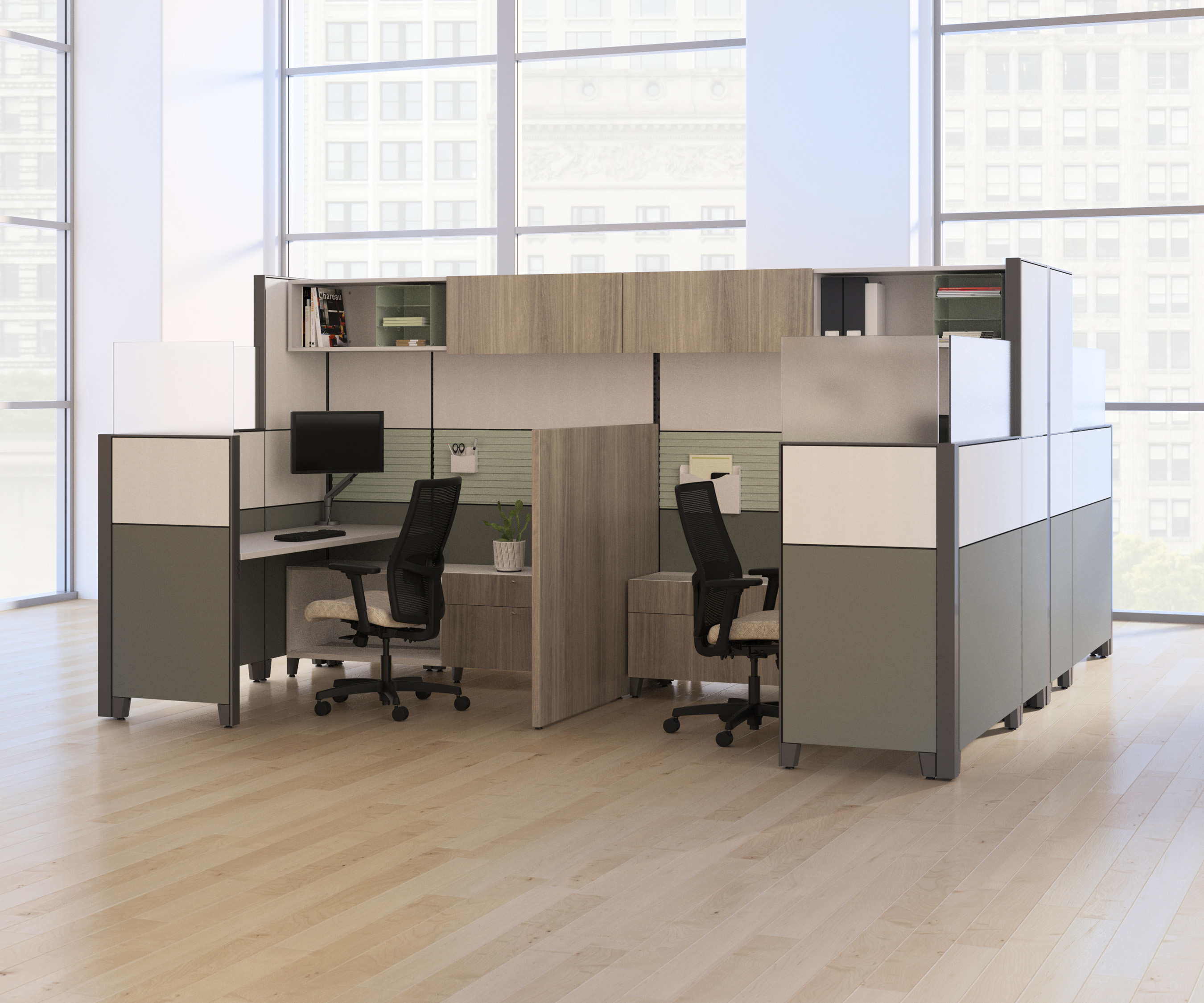 Abound, Accelerate, and Verse panels are available in cleanable vinyl or laminate options to help prevent the spread of germs within individual workstations. Glass stack-ons can be added to many installations to increase the panel height, while still letting in natural light.