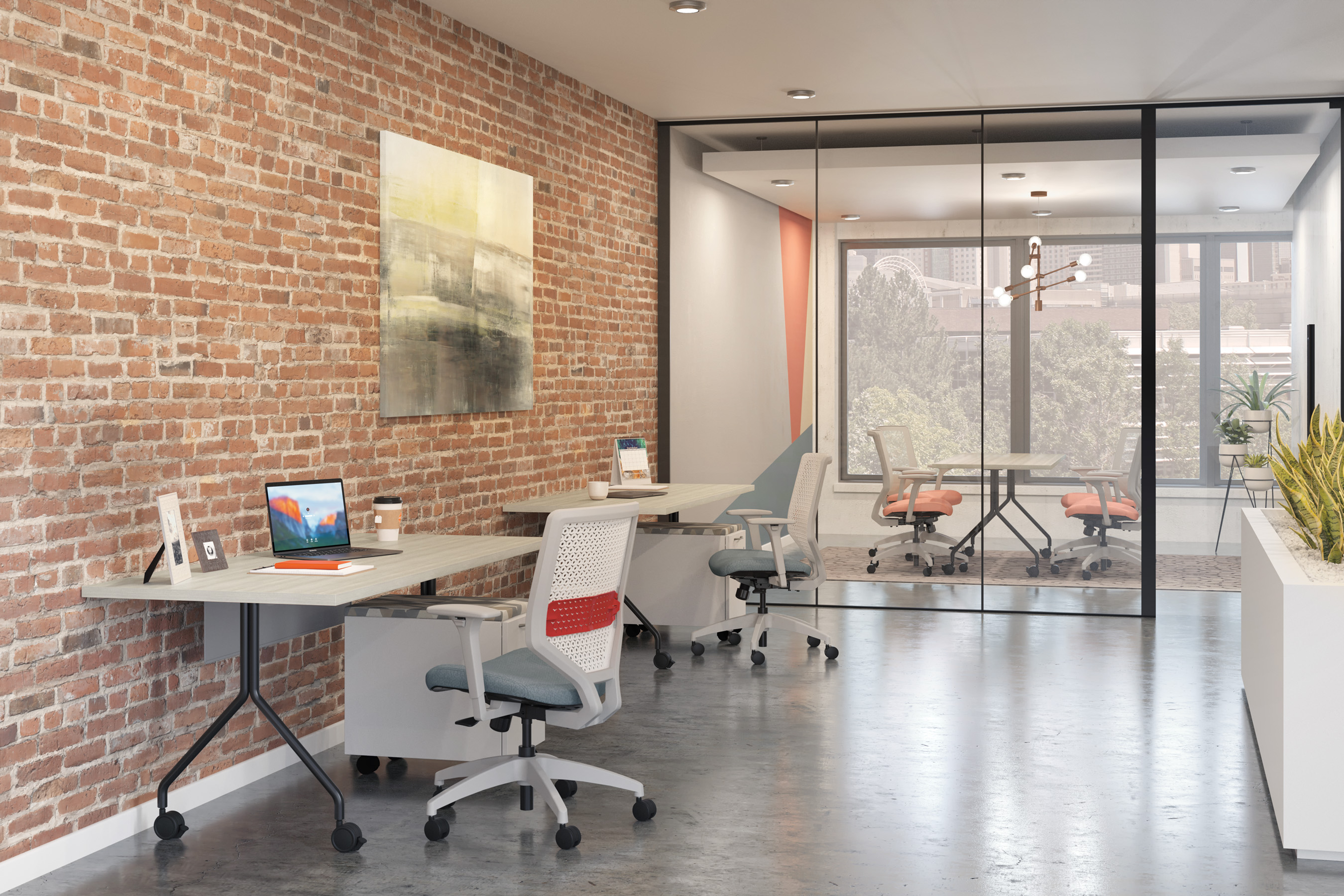 Traditional work stations are changing, now incorporating distanced desk and privacy screens with cleanable fabrics, allowing your users to feel safe and comfortable within their workspace.