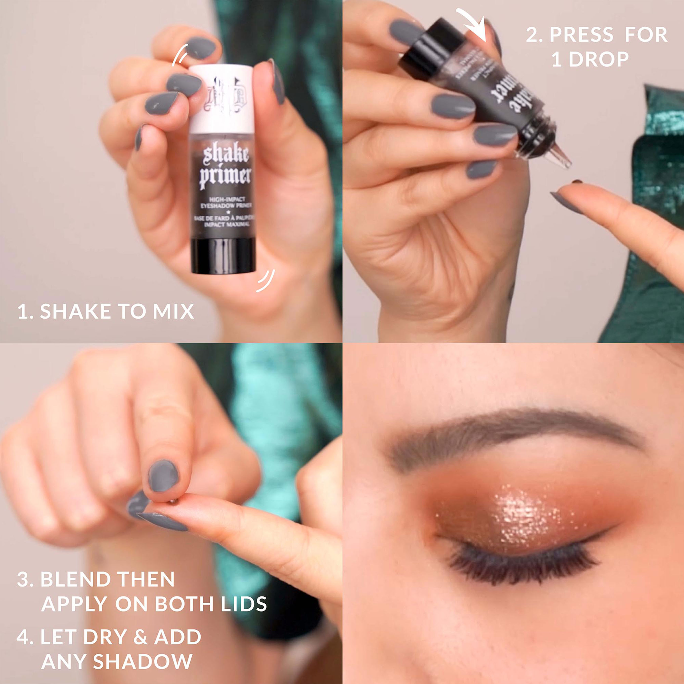 New KVD Vegan Beauty Shake Vegan Eyeshadow Primer Step-by-Step Usage