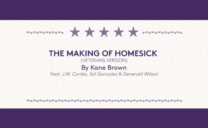 """Go behind-the-scenes to see the making of """"Homesick (Veterans Version)"""" with Kane Brown and The Crown Royal Purple Bag Project."""