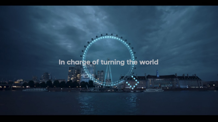 "Hyundai has celebrated the launch of IONIQ by turning the London Eye into a giant letter ""Q"""