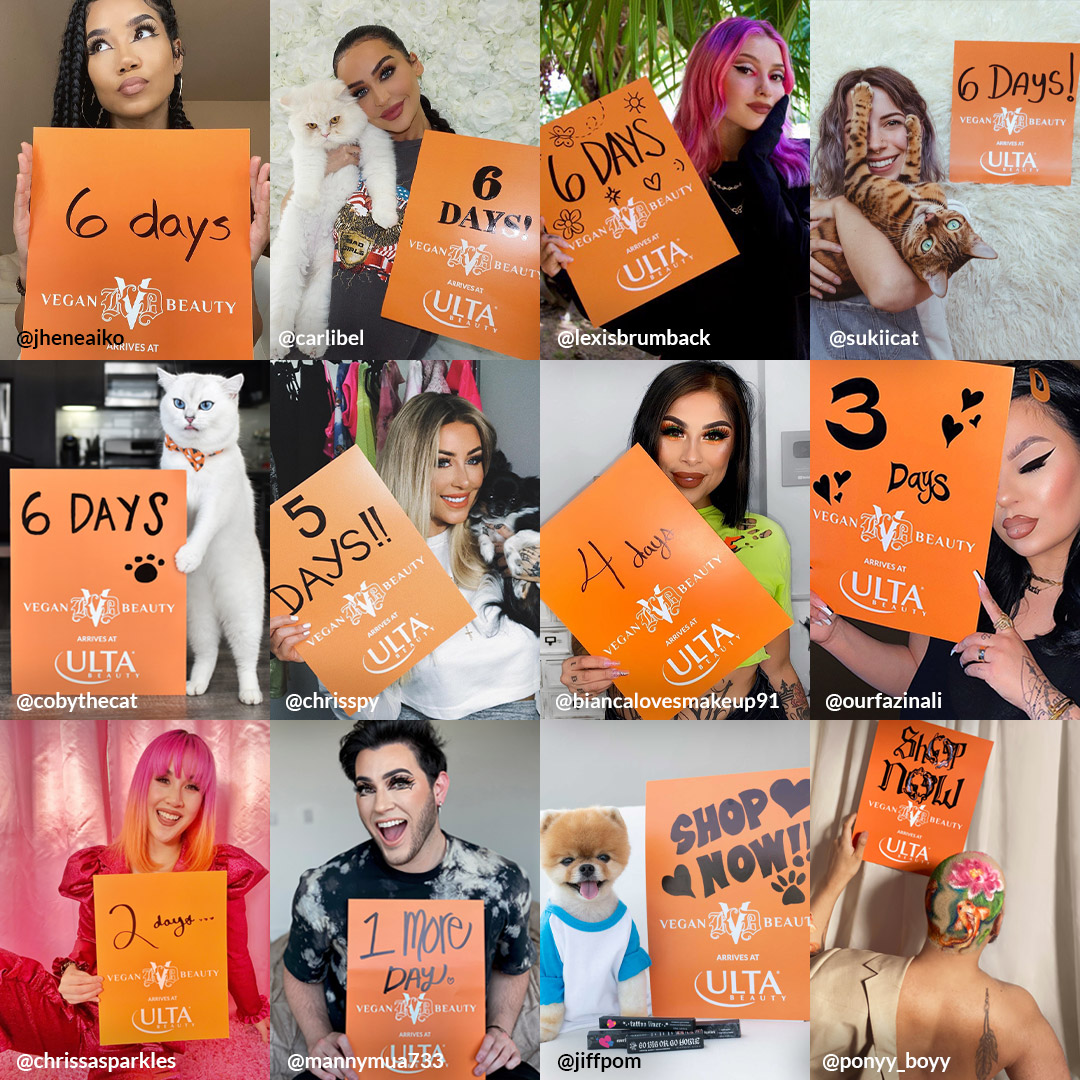 Celebrity Countdown selects, featuring some of the 30+ human and animal influencers who counted down to the Aug 23 Ulta Beauty launch