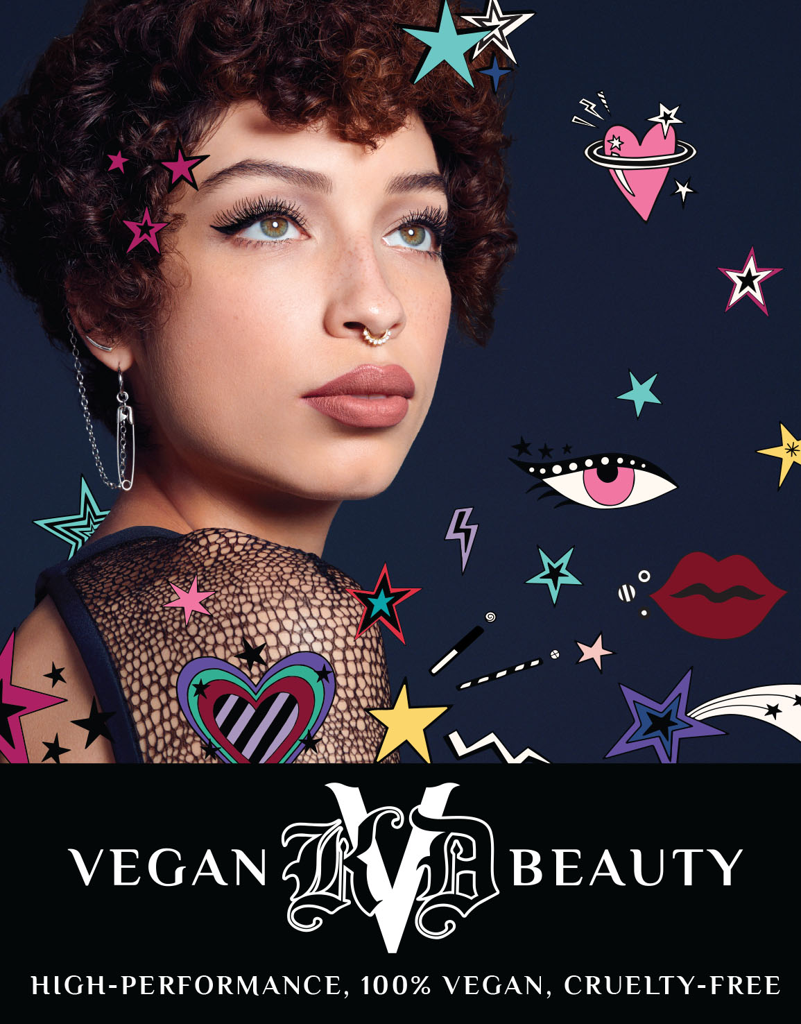 KVD Vegan Beauty Exclusive Campaign Image for Ulta Beauty launch, featuring icons and illustrations by artist Ana Strumpf