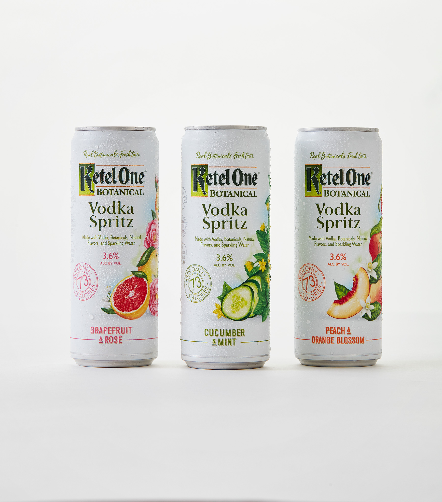 The first-of-its-kind Ketel One Botanical Vodka Spritz has no carbs, no added sugar, no artificial flavors or sweeteners, is made from 100% non-GMO grain and is only 73 calories per serving