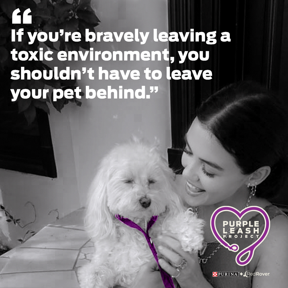 """Actress Lucy Hale has been an outspoken advocate for survivors of domestic abuse and sexual assault. """"It's critical that victims have a safe place to go with their pets so they can be together during this difficult time,"""" said Hale."""