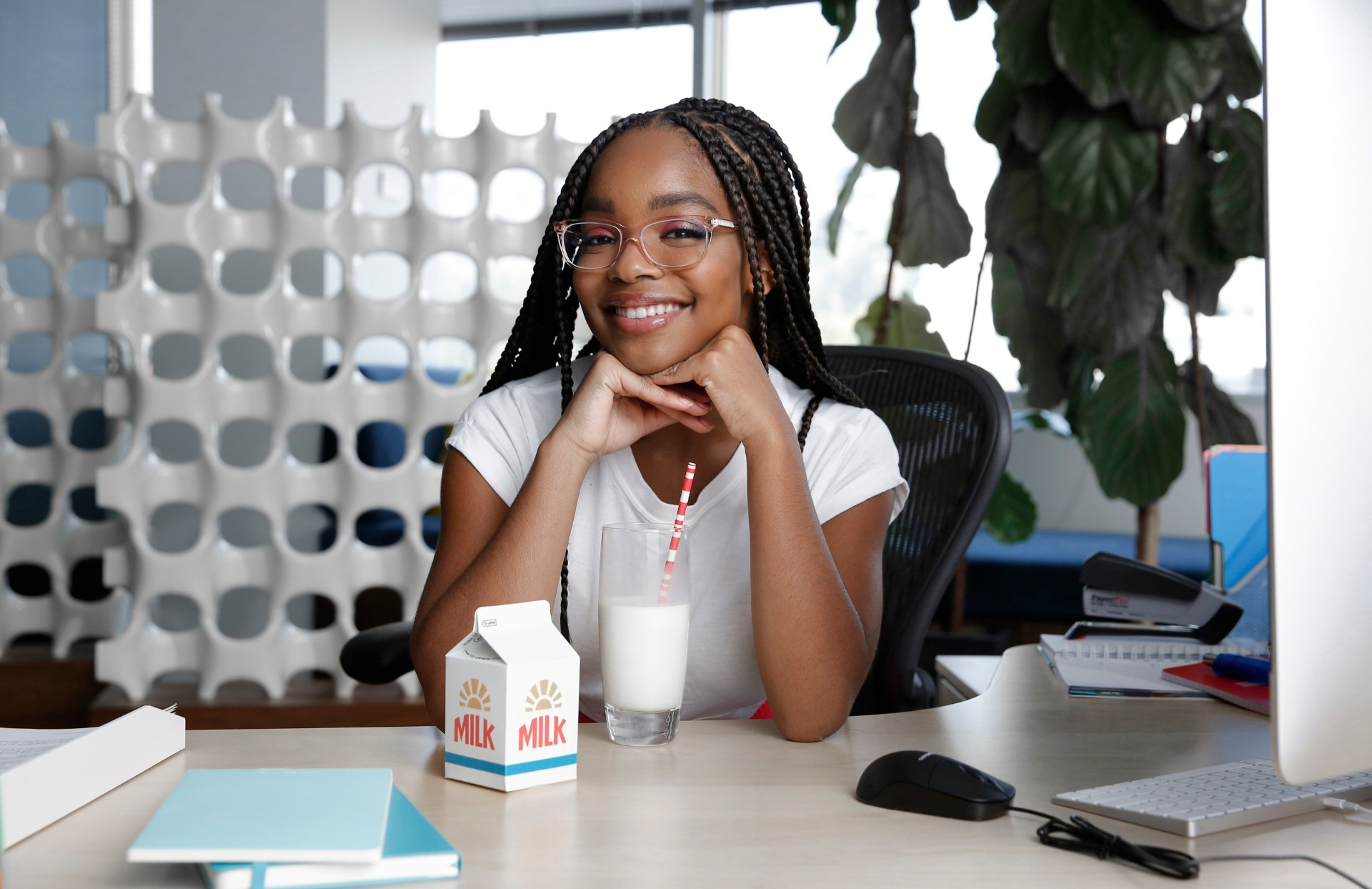 The creators of 'got milk?' kick off a new campaign with celebrated actress, TV/Film star and Hollywood's youngest executive producer Marsai Martin on Thursday, September 10, 2020. Martin went behind-the-scenes on the set of Glass Half Full News, to serve as creative advisor, AKA Boss Lady. The episodic internet show is the brainchild of the California Milk Processor Board and delivers positive and fun news seen through the ambitious lens of a kid's perspective. (Photo by Rachel Murray Framingheddu for CMPB/Getty Images)