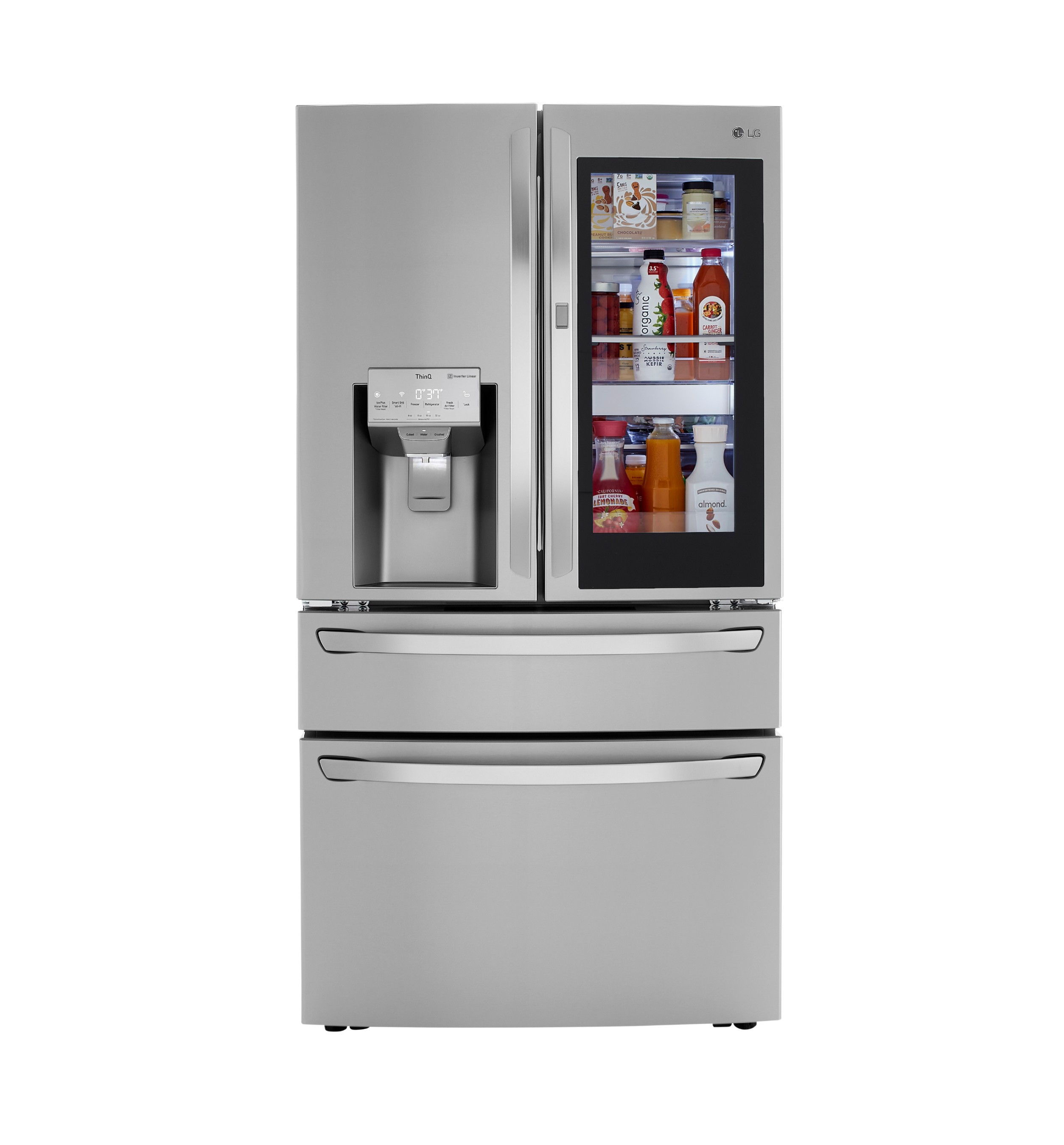 LG's popular InstaView refrigerators enable users to knock twice to illuminate the interior and see inside so they can choose without opening the door. Offering quick and easy access to favorite foods, snacks for the kids, cocktail mixers and more, the popular Door-in-Door® design keeps it all organized.
