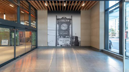 West Block retail lobby featuring wood ceiling salvaged from the old Queen's Wharf