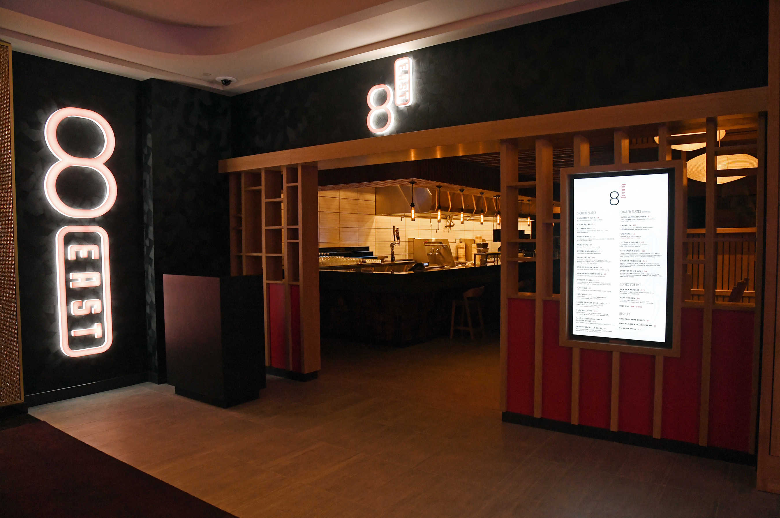 8 East is a Pan-Asian restaurant from Chef Dan Coughlin that brings a hip atmosphere and communal dining to Circa's casino floor.