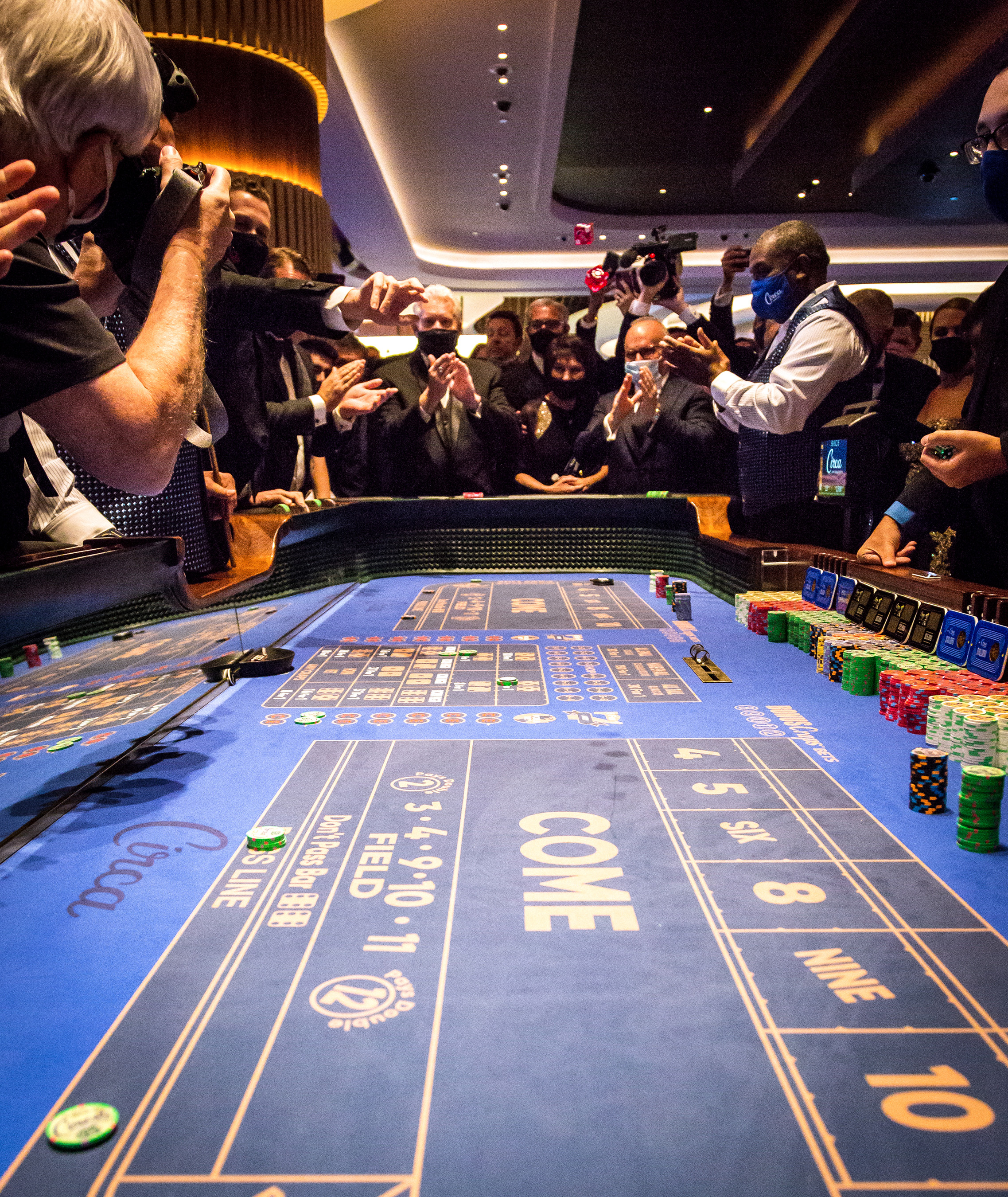 Las Vegas pioneers and executives joined to celebrate the first roll of the dice at Circa including Ryan Growney/South Point Hotel & Casino, Jonathan Jossel/The Plaza Las Vegas, Scott Sibella/Resorts World Las Vegas, Andy Abboud/ Venetian Resort Hotel Casino, Chris Latil/Golden Nugget Hotel & Casino, Terry Caudill/TLC Casino Enterprises, Mike Nolan/El Cortez Hotel and Casino, and Brendan Gaughan/grandson of Jackie Gaughan.