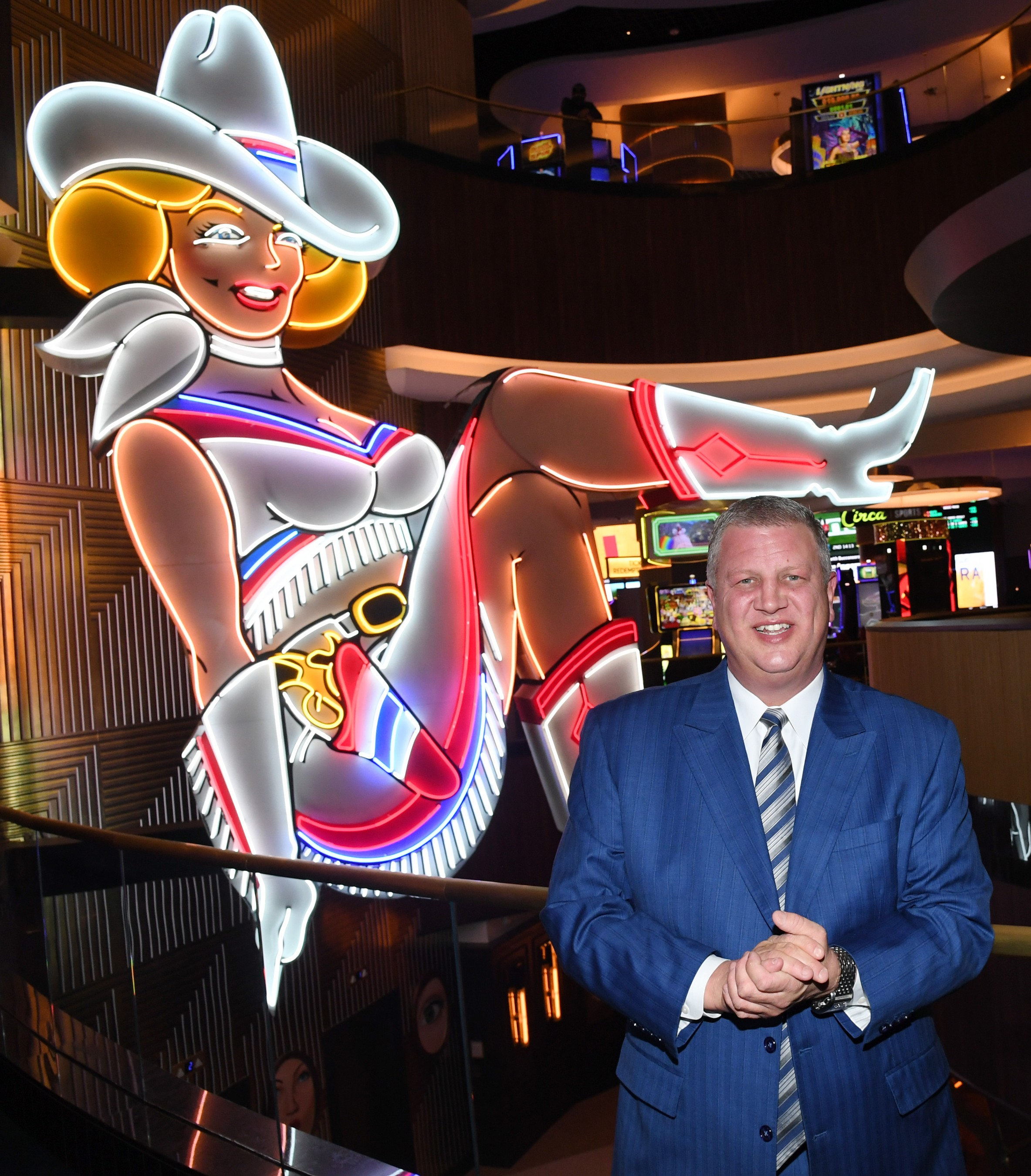 With the goal of paying homage to Vegas history, Circa CEO Derek Stevens acquired and restored the iconic Vegas Vickie sign, which now sits in Circa's lobby.