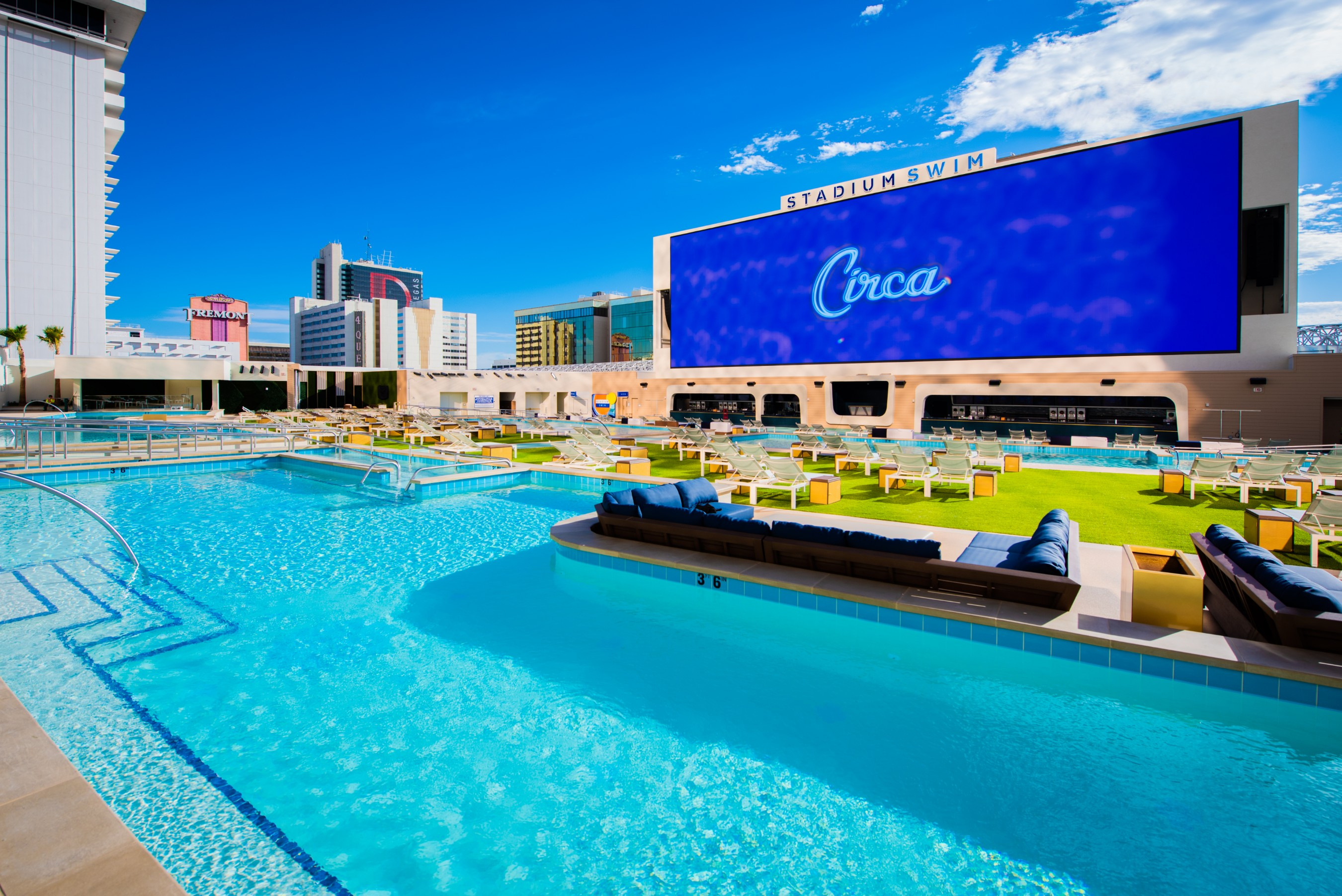 Stadium Swim at Circa Resort & Casino is the largest destination pool experience for sports fans in the US, open 365 days a year with a 14-million-pixel screen.