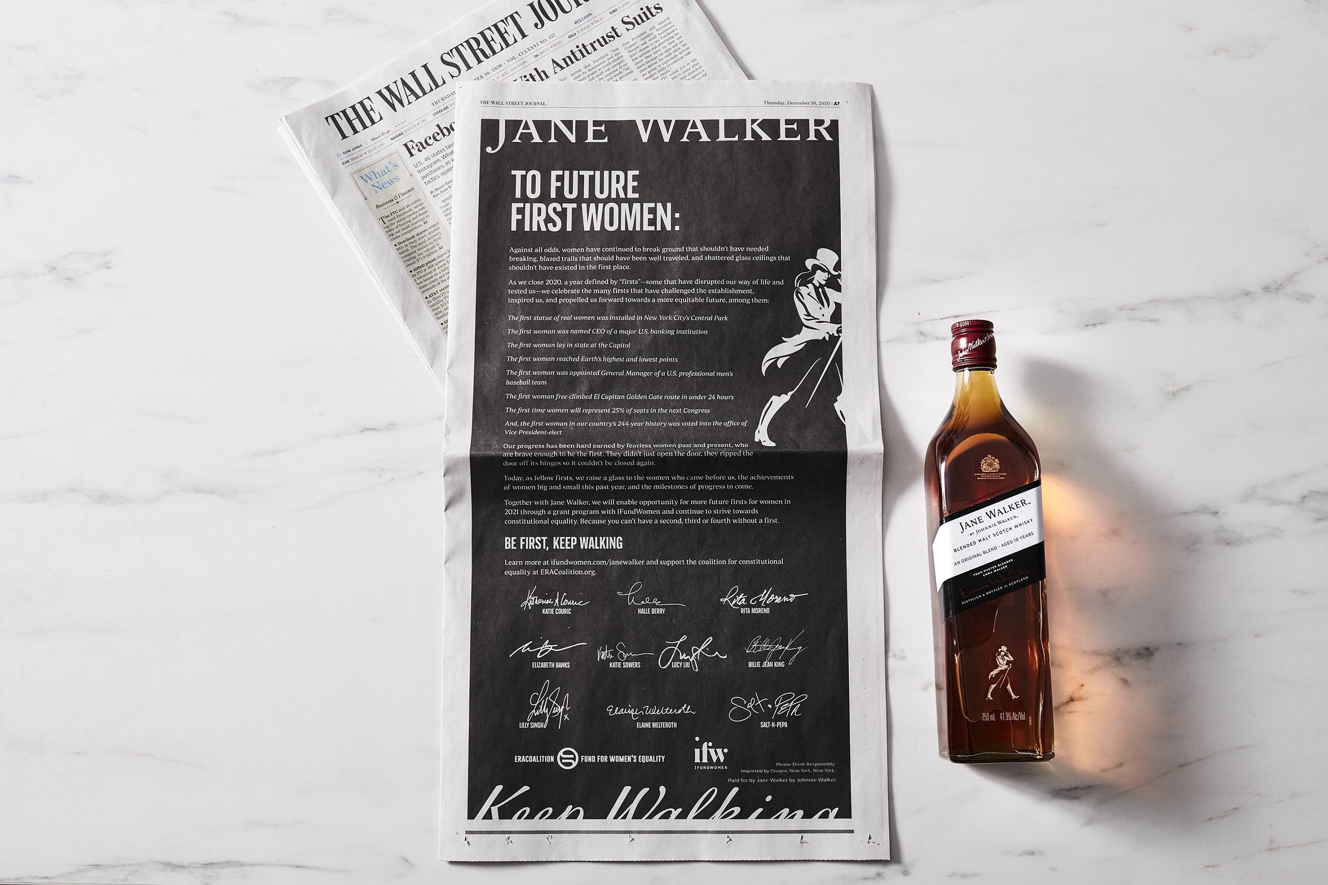 Jane Walker by Johnnie Walker launches its First Women campaign with an Open Letter in The New York Times, The Wall Street Journal and The Washington Post signed by a network of trailblazing 'First Women.'
