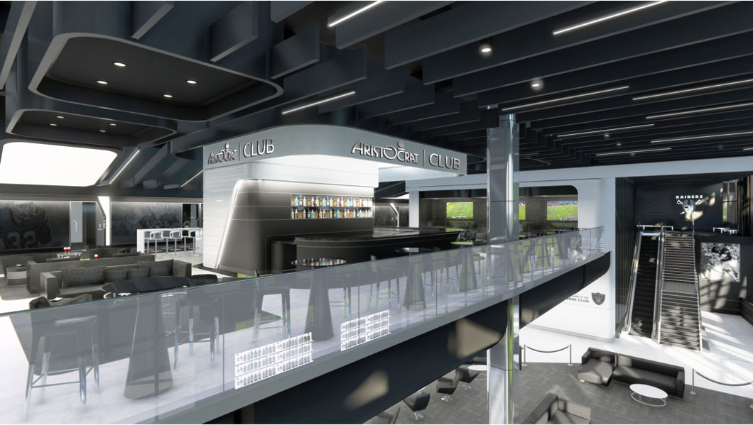 A rendering of the Aristocrat Club at Allegiant Stadium, an ultra-exclusive experience with a full-service premium bar, luxury lounge and upgraded stadium seating for game-viewing.