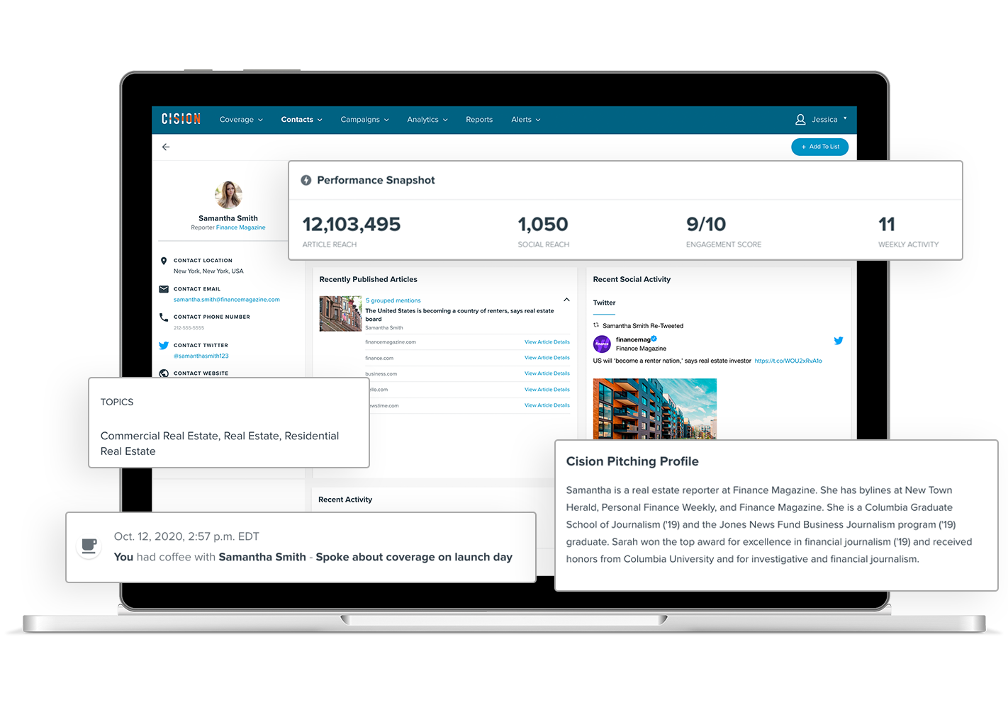 Cision Connect delivers powerful media profiles, with more contact information, performance metrics, social details, pitching tips and content streams.