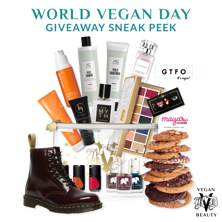 """KVD Vegan Beauty World Vegan Day """"Vegan Super Sweeps"""" Sneak Peek - 5 incredible giveaway bundles will be offered throughout the day featuring the brand's favorite beauty, fashion and lifestyle brand bundles - follow @KVDVegan Beauty on Instagram for the chance to win."""