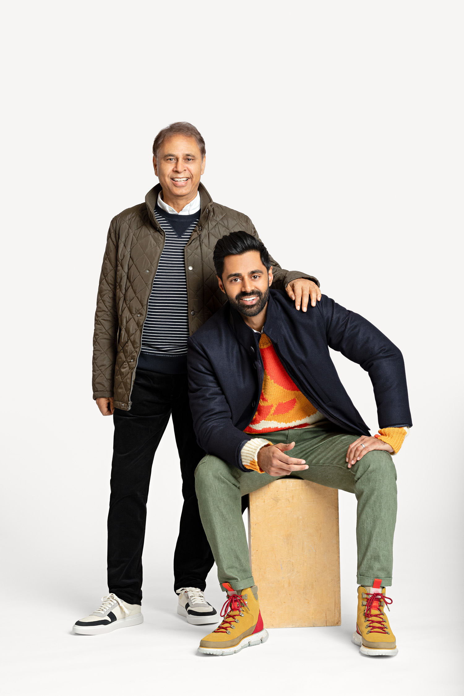 Hasan and Najme Minhaj in the Cole Haan x Hasan Minhaj Limited-Edition Collection