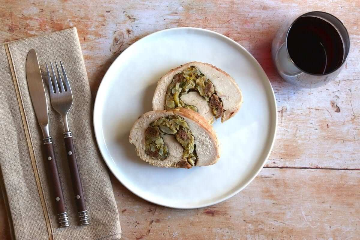 Turkey breast roulade rolled up with seasonal flavors is a great way to wow a small crowd.