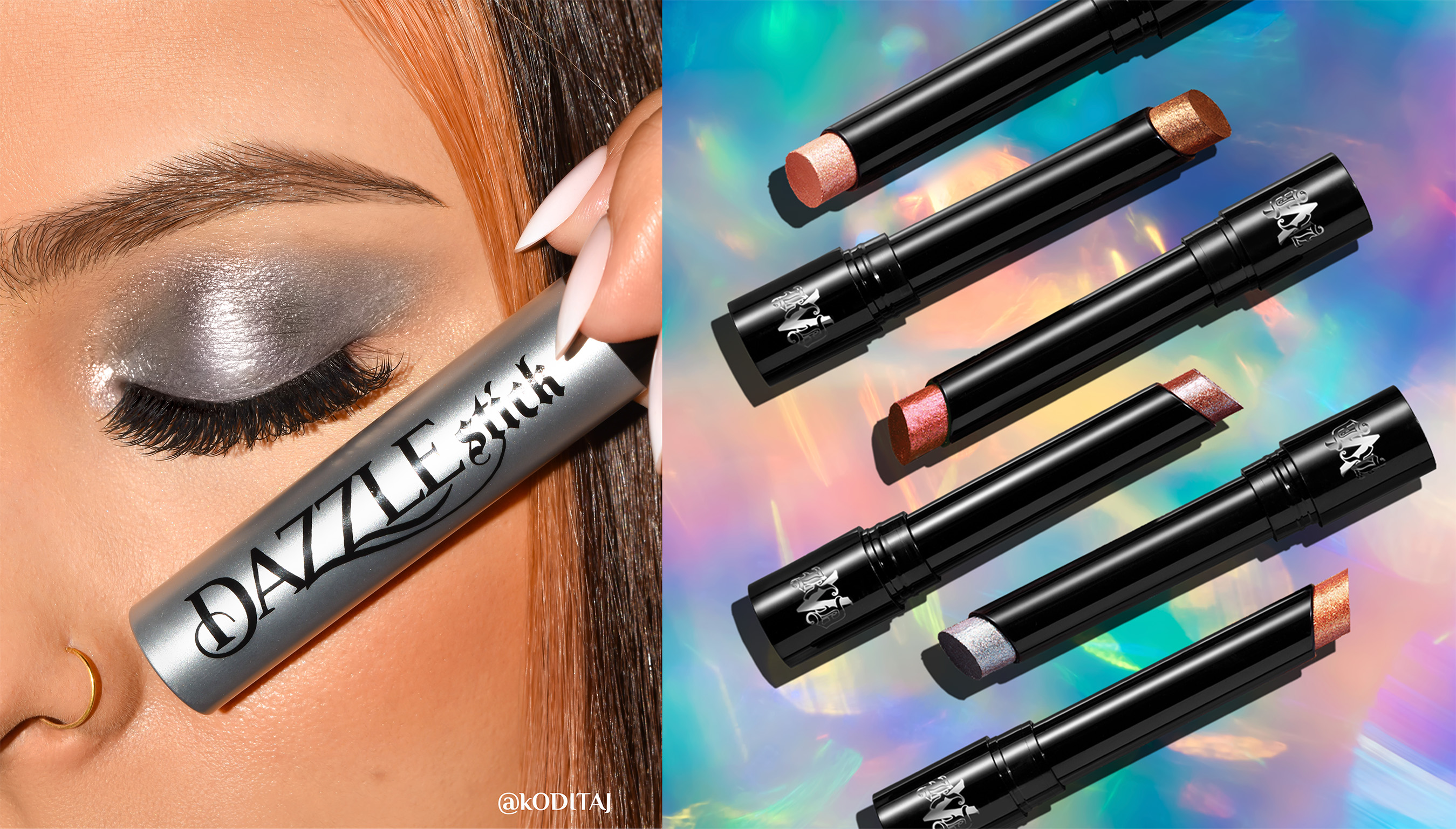Dazzle Vegan Eyeshadow Sticks deliver multidimensional shimmering shadow in a flash, without the mess of loose glitter.
