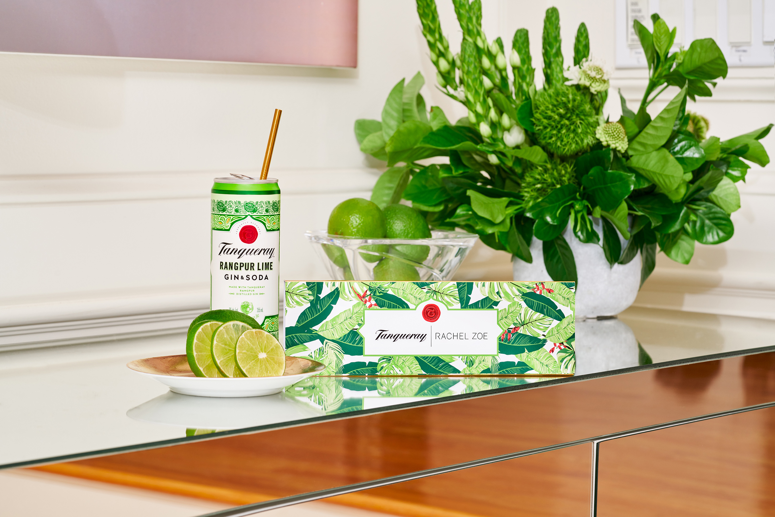 Tanqueray Rangpur Lime & Soda with the Rachel Zoe x Tanqueray Straw Capsule Collection