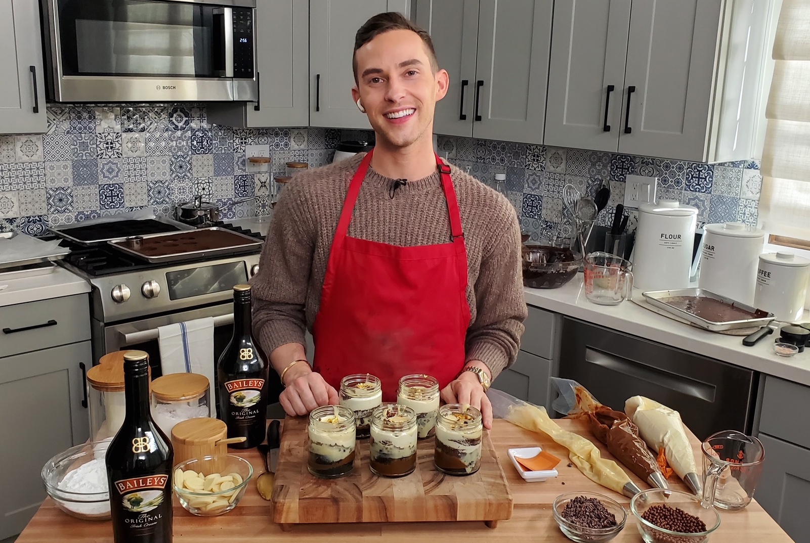 Adam Rippon Debuts His Homemade Stout & Baileys Cake Jars