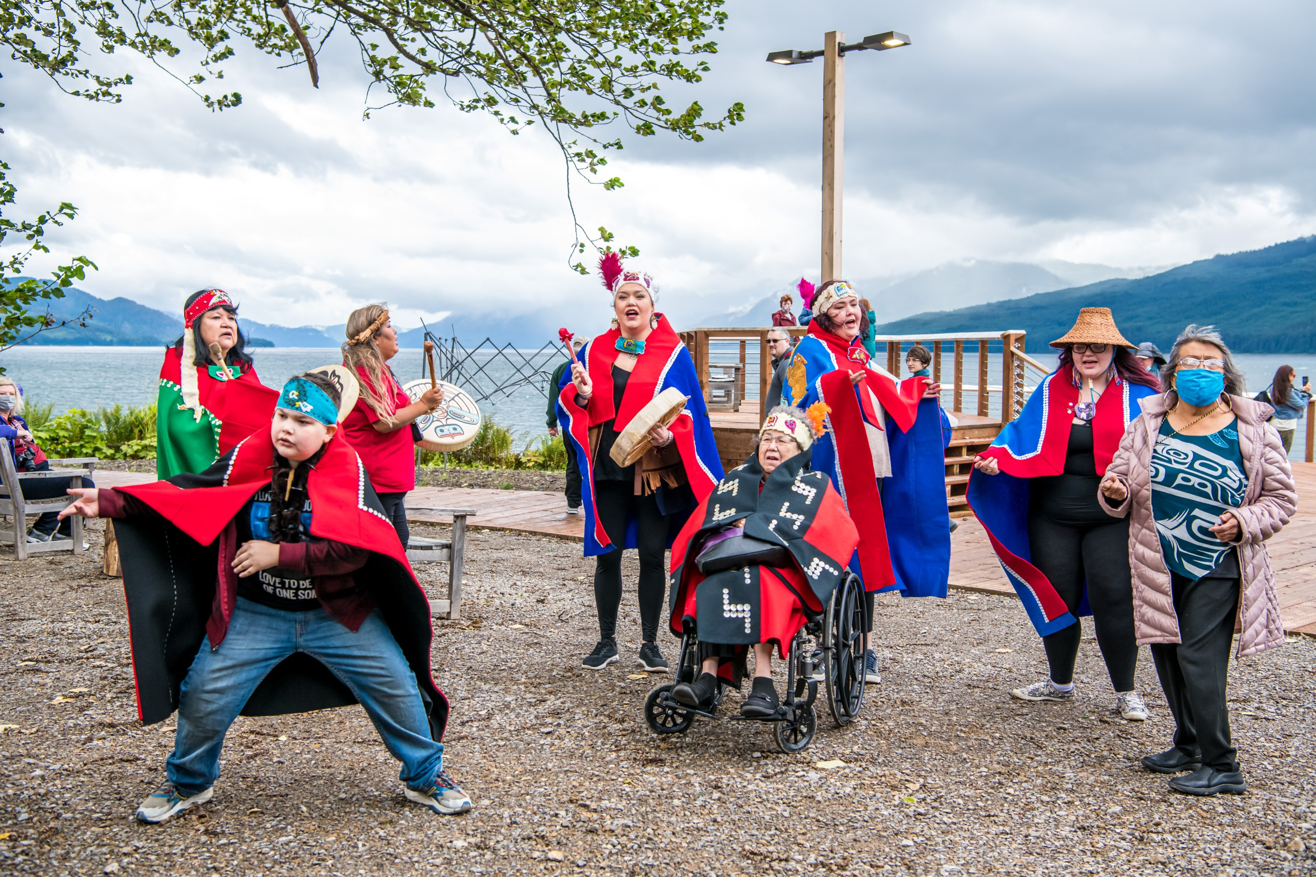 Norwegian Cruise Line guests were welcomed with a ceremonial dance performed by the local native community during Norwegian Encore's debut call to Icy Strait Point, Alaska. Photos by Alive Coverage.