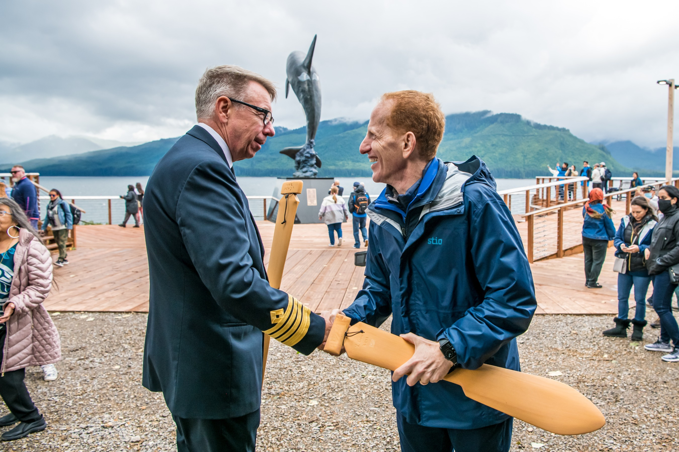 Norwegian Encore's Captain Martin Holmqvist and NCL President and CEO Harry Sommer celebrate the Company's return to Alaska after its 500-day pause in operations. Photos by Alive Coverage.