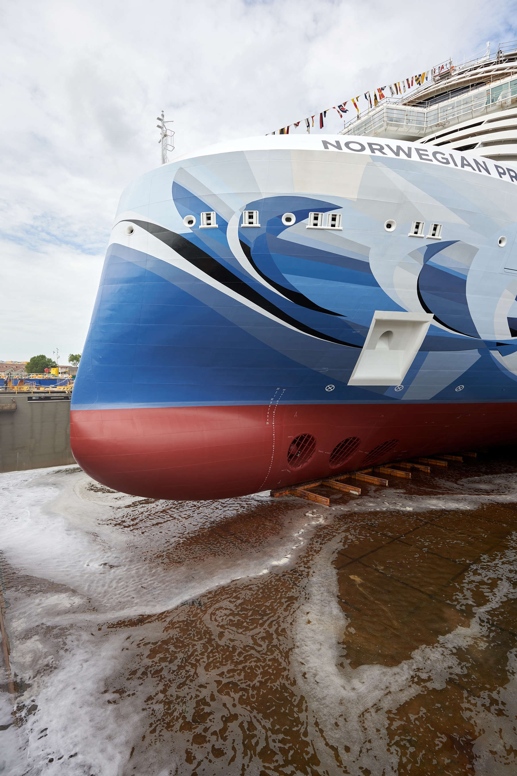 NCL's ground-breaking new ship Norwegian Prima completes major construction milestone at the Fincantieri shipyard in Marghera, Italy, on Aug. 11, 2021, floating into the water for the very first time. Photo by © Filippo Vinardi
