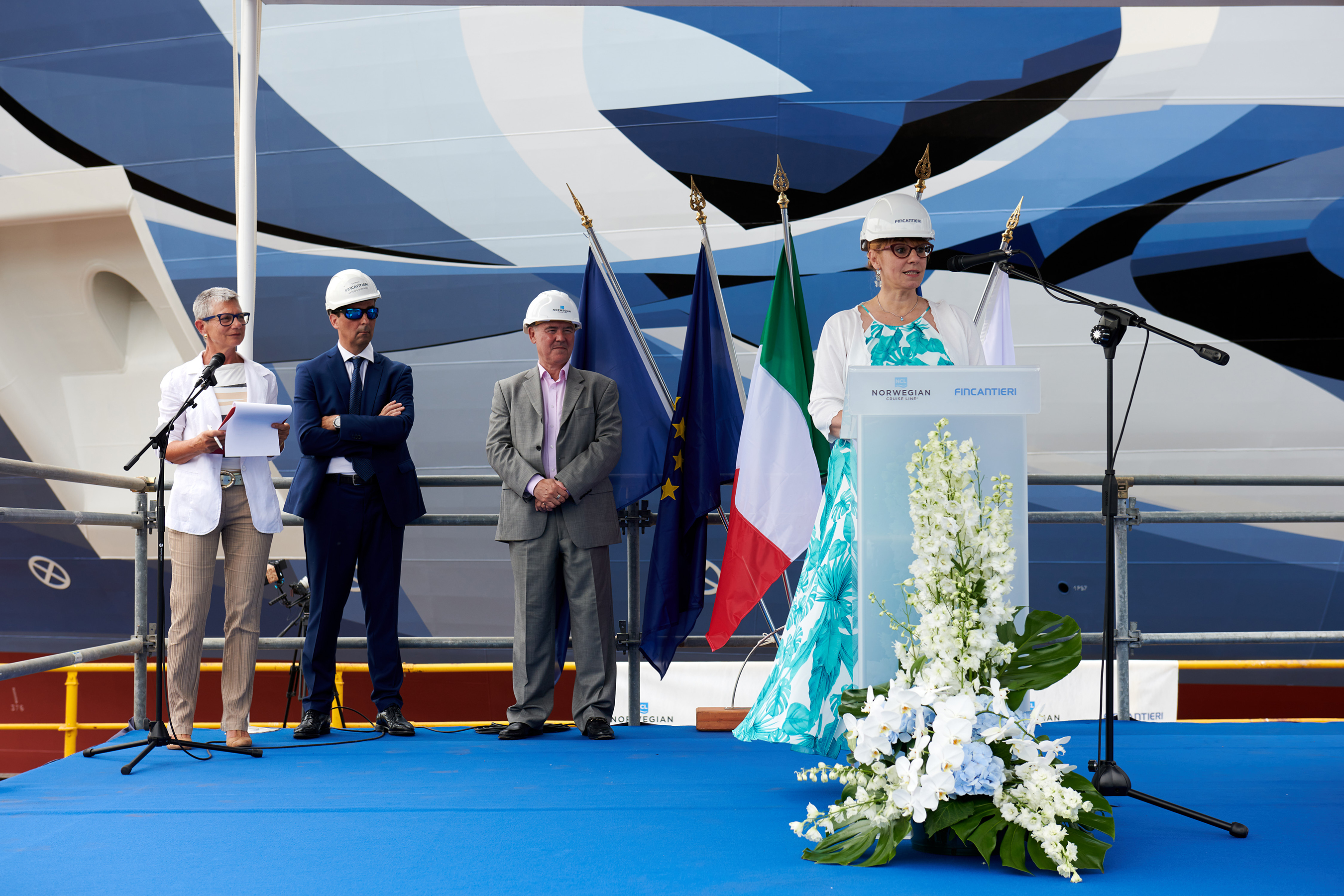 Tatiana Lazzarin, Head of Machinery Room Outfitting Technical Office of Fincantieri, was named the Shipyard Godmother during Norwegian Prima's float out and coin ceremony on Aug. 11, 2021 at the Fincantieri shipyard in Marghera, Italy. Photo by © Filippo Vinardi