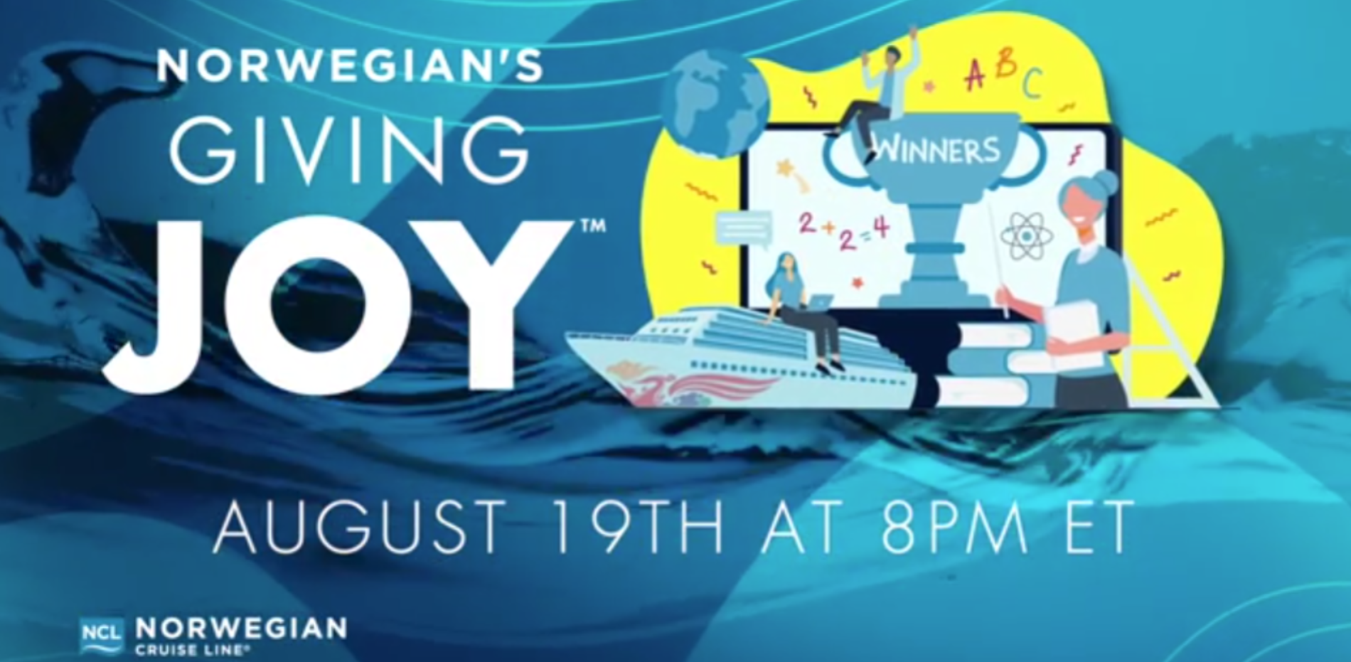 Norwegian Cruise Line is awarding 100 teachers across North America with a free seven-day cruise to celebrate educator's passion for bringing joy to the classroom. Tune in Aug. 19 at 8 p.m. ET at www.NCLGivingJoyLivestreamEvent.com and Facebook to see who will be named the Grand Prize winner and receive $25,000 for his or her school.