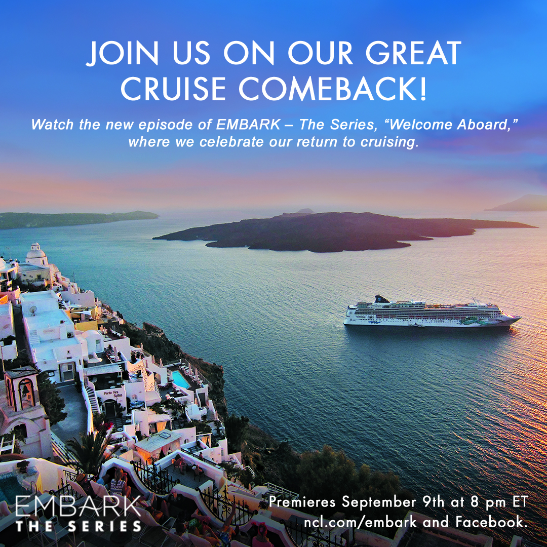 """In the fourth episode of Norwegian Cruise Line's five-part docuseries, """"EMBARK - The Series,"""" travelers will get a behind-the-scenes look at the final preparations for the Company's Great Cruise Comeback when Norwegian Jade becomes the first ship in the fleet to welcome guests back on board after 500 days. Watch live on Sept. 9, 2021 at 8 p.m. ET at www.ncl.com/embark."""